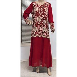 Red maxi gown for women casual wear dress Kaftan